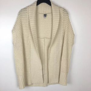 Roxy Creme Open Front Knit Sweater Cardigan Large